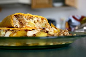 Roasted Corn & Chicken Grilled Wrap | bsinthekitchen.com