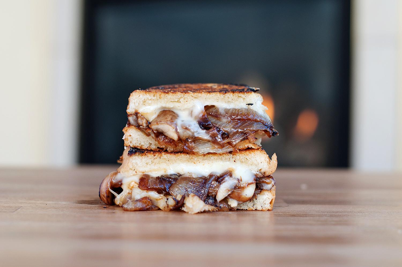 Caramelized Onion & Mushroom Brie Grilled Cheese | bsinthekitchen.com ...