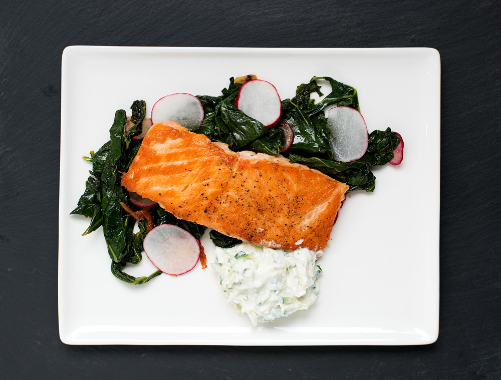 Pan Roasted Salmon & Collard Greens with Radish Raita | bsinthekitchen.com #dinner #salmon #bsinthekitchen