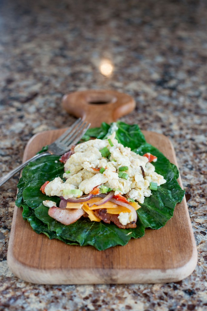 Collard Green Scrambled Egg Wrap | bsinthekitchen.com #breakfast #healthy #bsinthekitchen